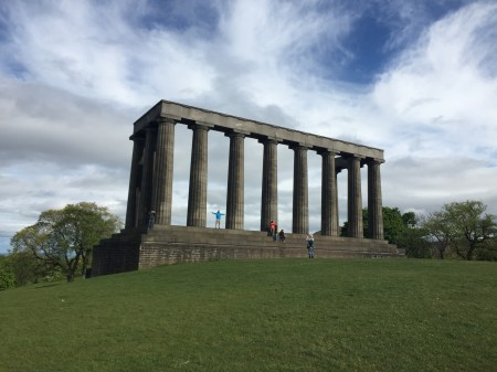 A fancy, yet incomplete, building at the top of Calton Hill.