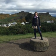 Here I am at Calton Hill. In the background is Arthur's Seat, the inactive volcano I hiked the next day!