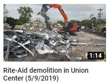 Rite-Aid demolition in Union Center (5/9/2019)