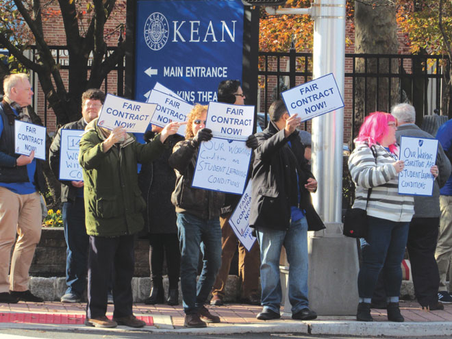 Kean profs protest as part of statewide demonstration