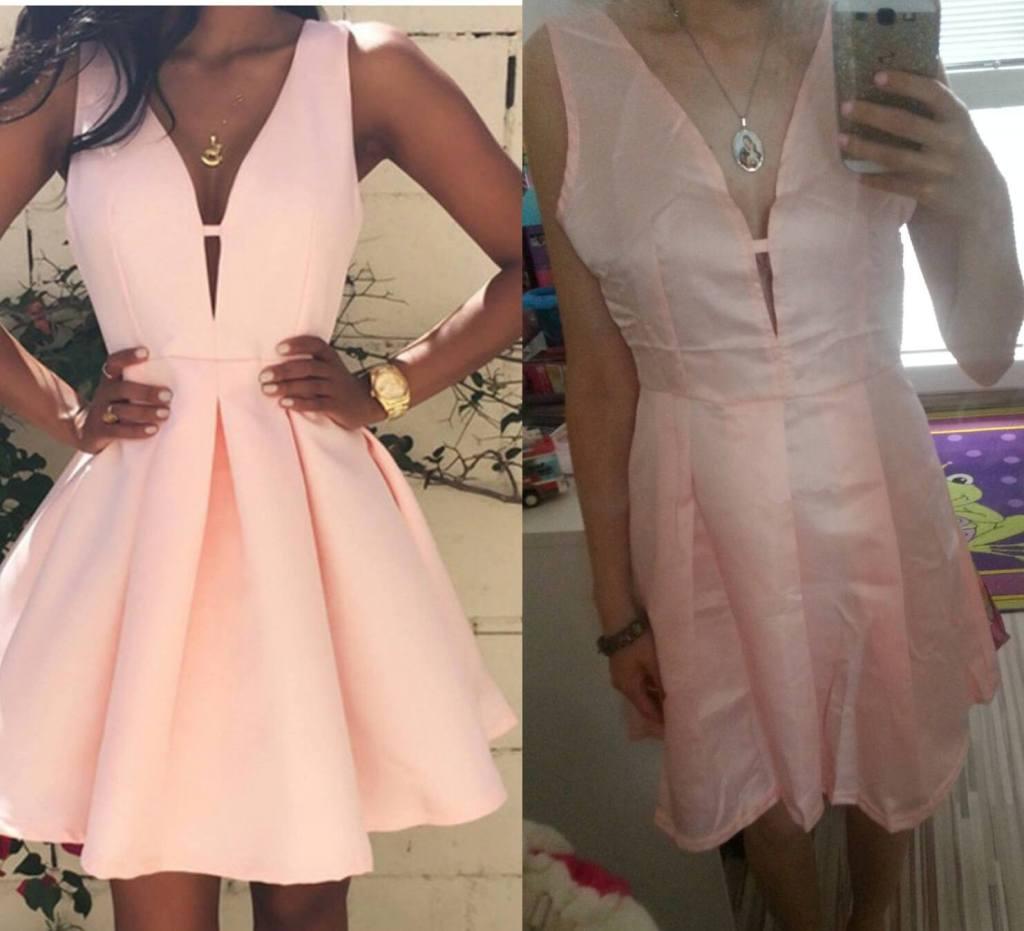 """To som ja v mojich nových šatách, ktoré mali byť na spoločenskú udalosť. Tá napravo. Vľavo vidíte fotografiu, ktorá bola uverejnená na predajnej stránke. """"Too close""""..Nikdy si nekupujte oblečenie cez internet bez toho, aby ste vedeli, ako vyzerá v skutočnosti :) Foto vpravo: Dominika Sedláková"""