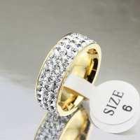 18K Gold Plated Stainless Steel Wedding Rings For Women ...