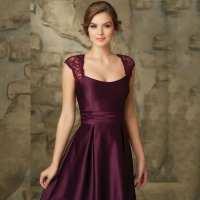 A-line Satin Lace Cap Sleeves Bridesmaid Dress - Uniqistic.com