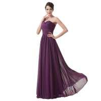 Elegant Long Purple Chiffon Bridesmaid Dress - Uniqistic.com
