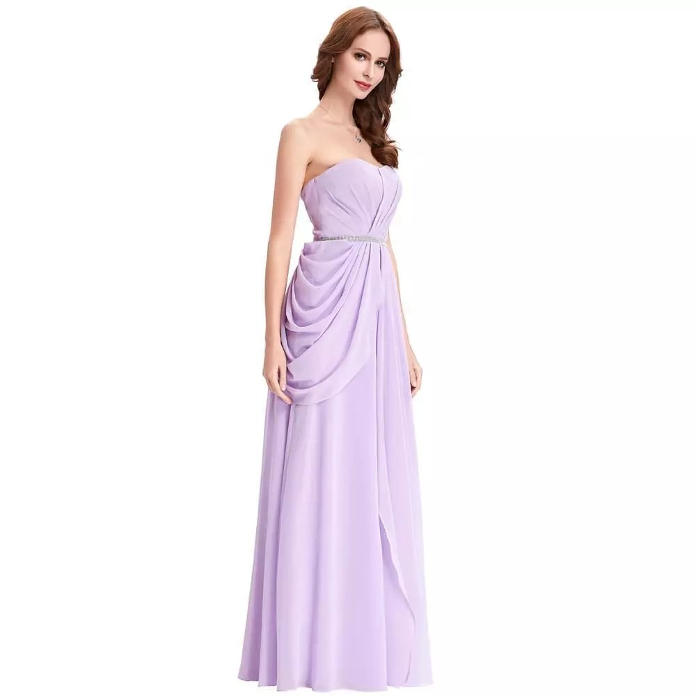 Purple Lavender Long Chiffon Floor Length Bridesmaid Dress