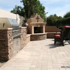 Outdoor Kitchen Bbq Lowes Island Lighting Kitchens Photo Gallery Your Own Backyard Resort Complete With Barbecue Custom Manor Fireplace Travertine Pavers