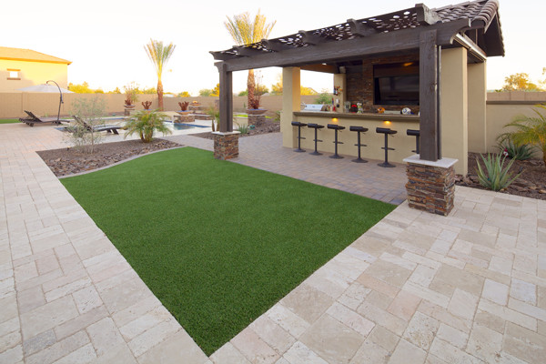 Stone Travertine Flagstone Patio Pavers  Phoenix Landscaping Design  Pool Builders Remodeling