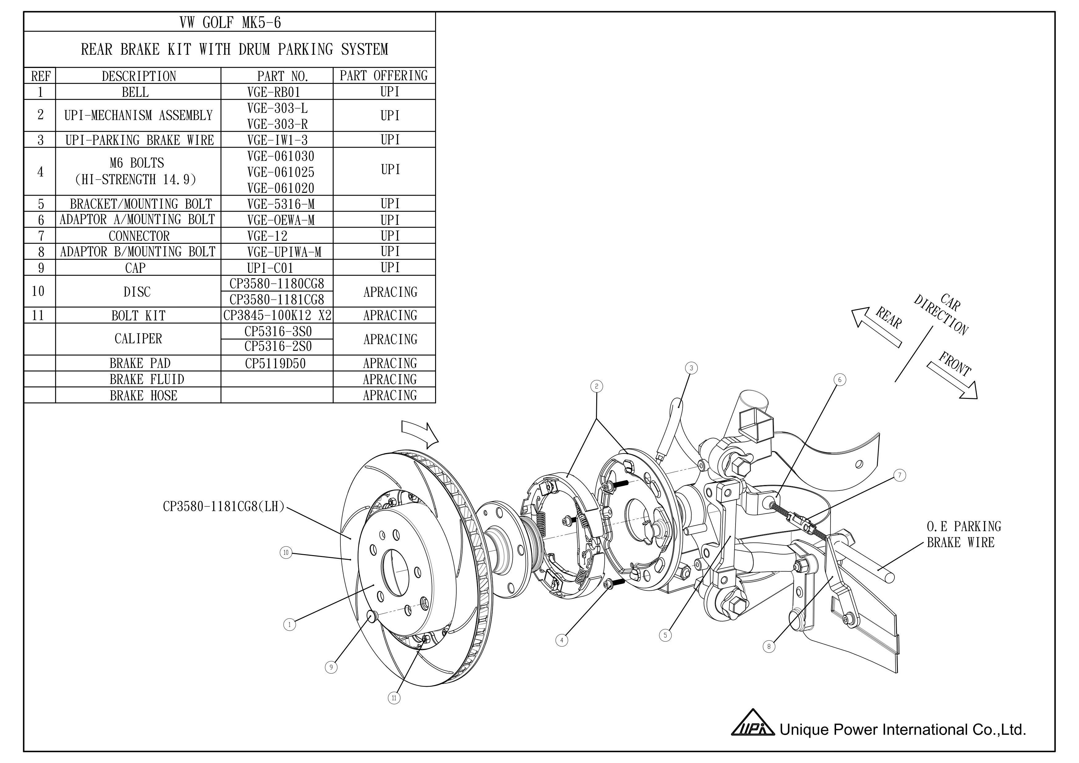 Vw Golf Mk5 6 Rear Ap Racing Drum In Disk Kit