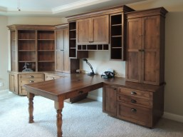 Knotty alder wood peninsula desk & storage cabinets