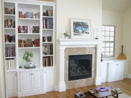 White Painted Bookshelves & Mantel. Raised Panel doors