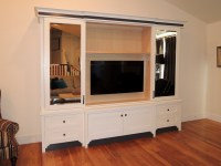 Tv Doors & White Lacquered TV Cabinet With Sliding Doors