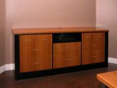 Zebra wood credenza with black accent