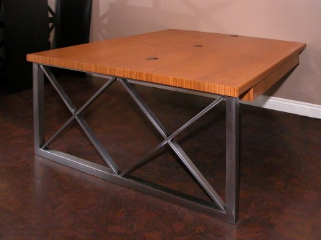 Zebra wood desk with stainless steel support leg