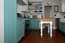 Teal Base cabinets with Ant White Uppers