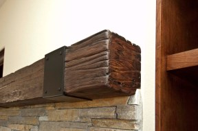 Rustic walnut mantel
