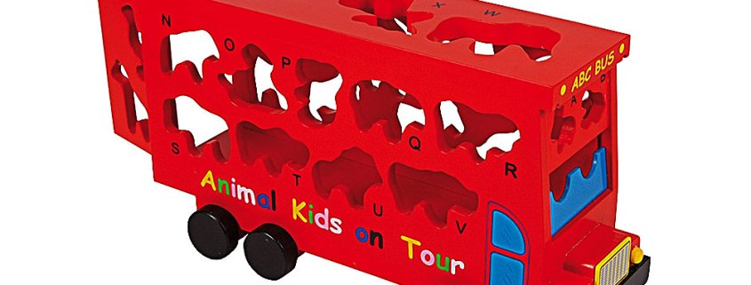 Wooden double-decker ABC bus with animal shapes - artnomore.co.uk