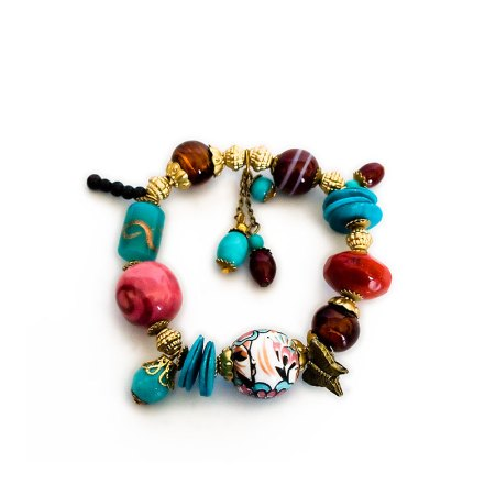 Glass and ceramic bead elasticated bracelet - artnomore.co.uk
