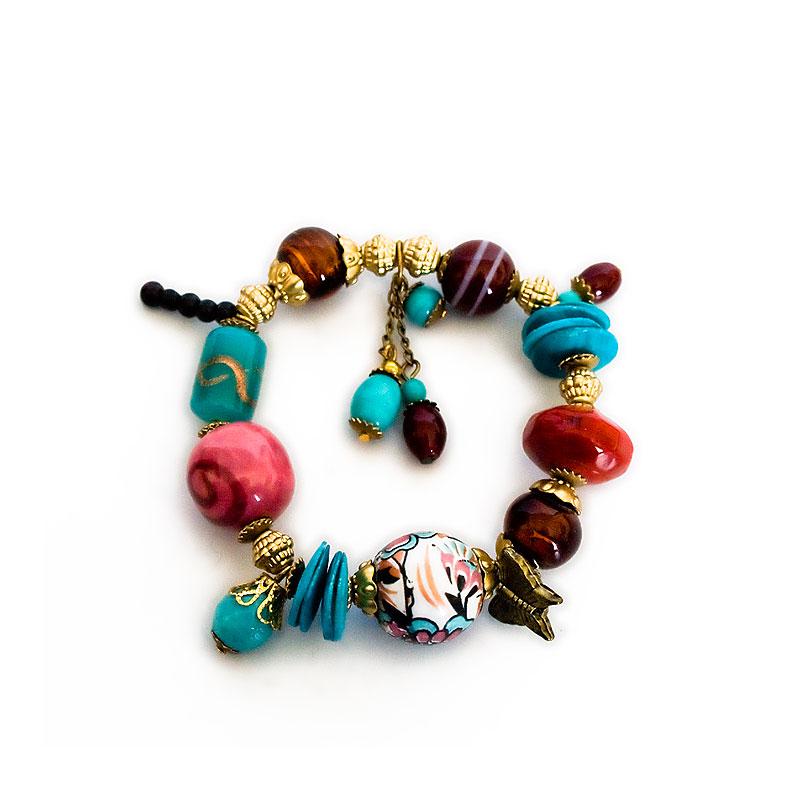 Glass and ceramic bead elasticated bracelet - artnomore.co.uk