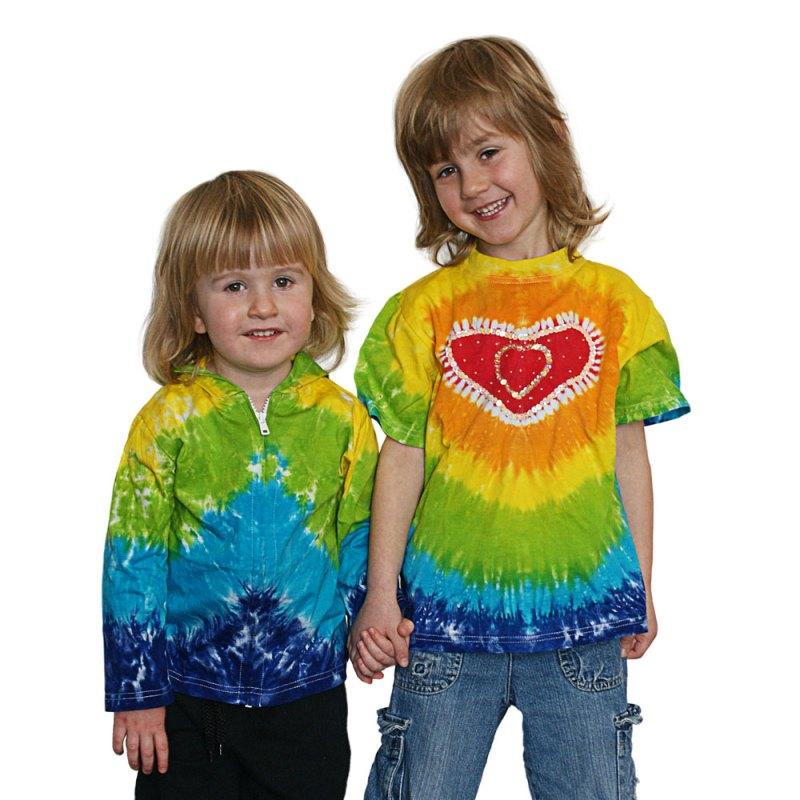 Rainbow sequinned tie dye heart t-shirt - artnomore.co.uk