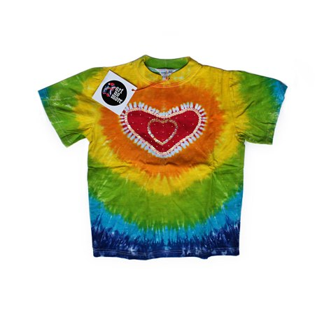 Rainbow sequinned tie dye heart t-shirt - artnomore.co.uk
