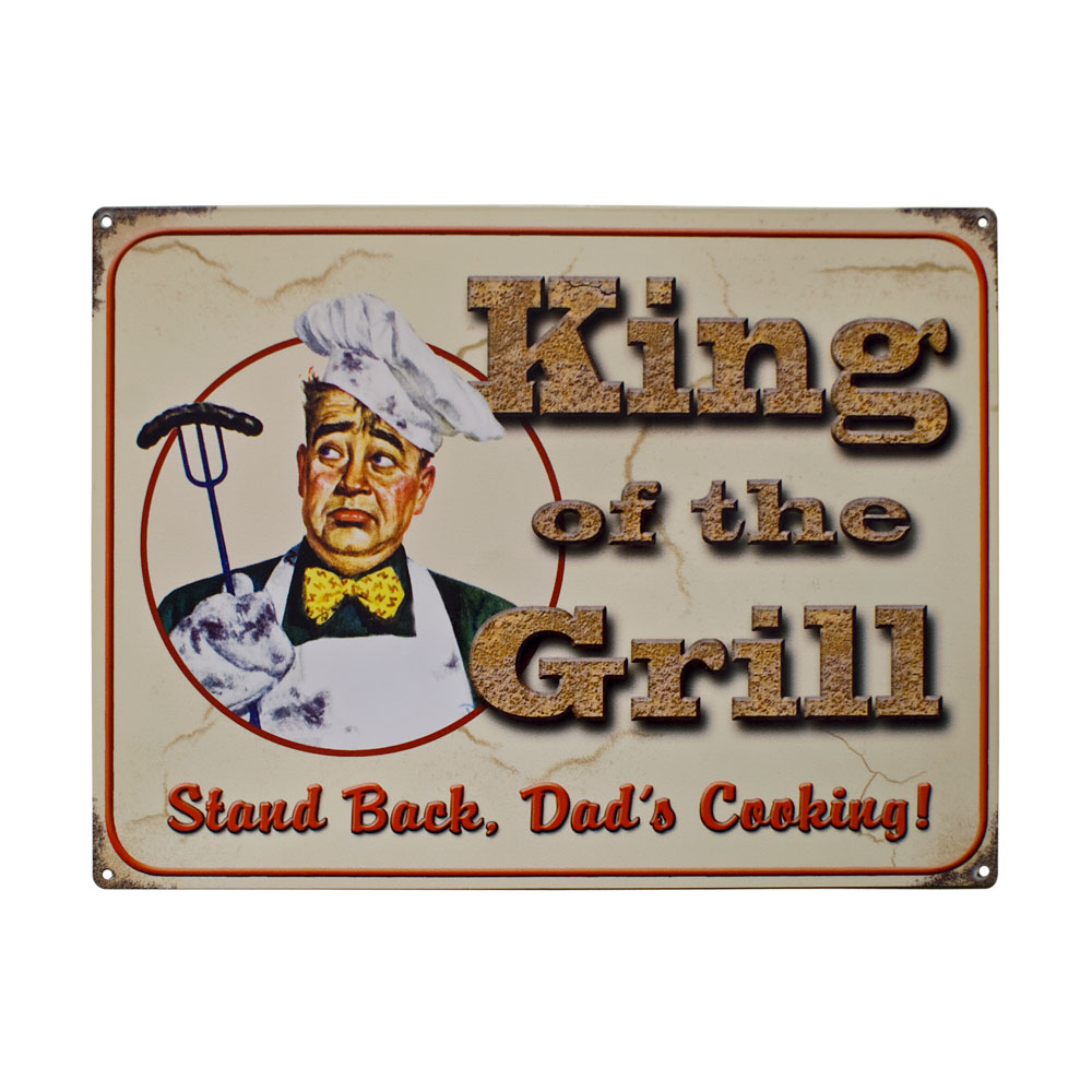 King of the Grill Metal Sign Plaques
