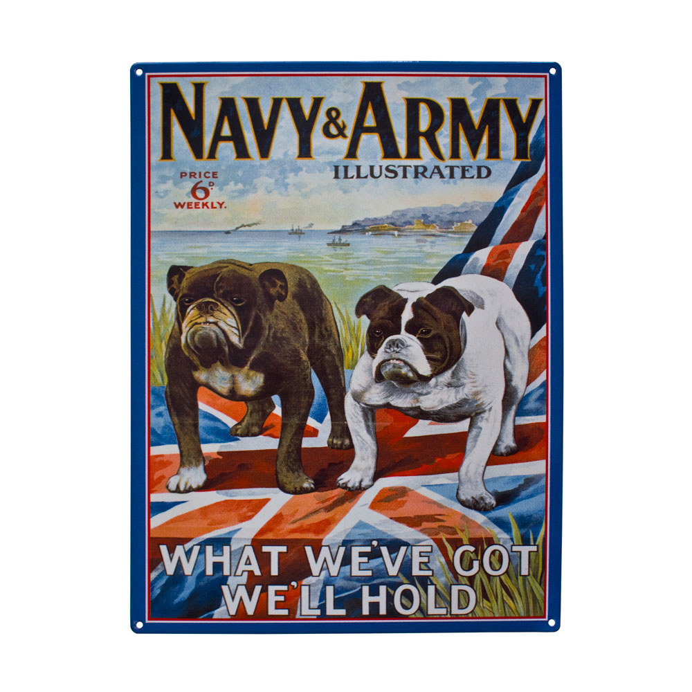 Vintage Advertising Navy & Army Illustrated Metal Sign Plaques