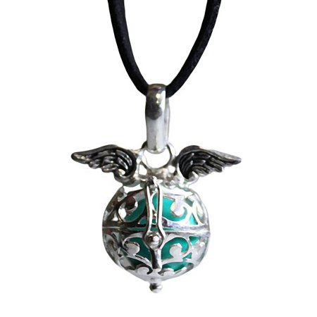 Angel Wing Necklace - Angel Wings & Bell - Teal