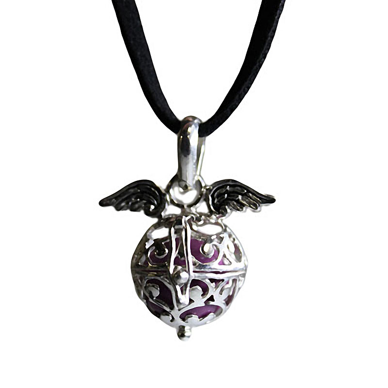 Angel Wing Necklace - Angel Wings & Bell - Lavender