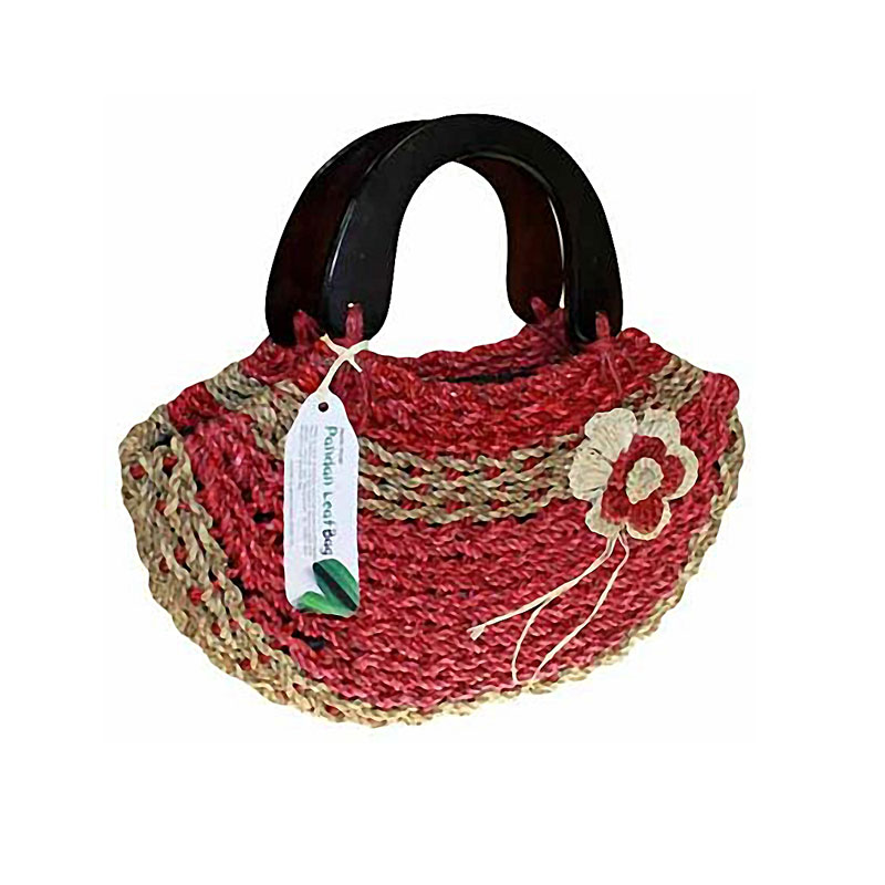 wood handle happy pandan bags - orange