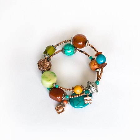 Turquoise brown and silver bead bracelets - artnomore.co.uk gift shop