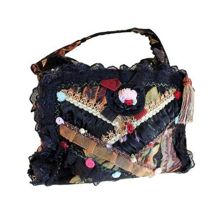squarish gothic shabby chic bag black