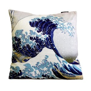 art cushion covers based on Hokusai's Great wave image from artnomore