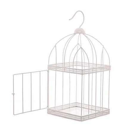 44cm square white wire bird cage decorative image 2