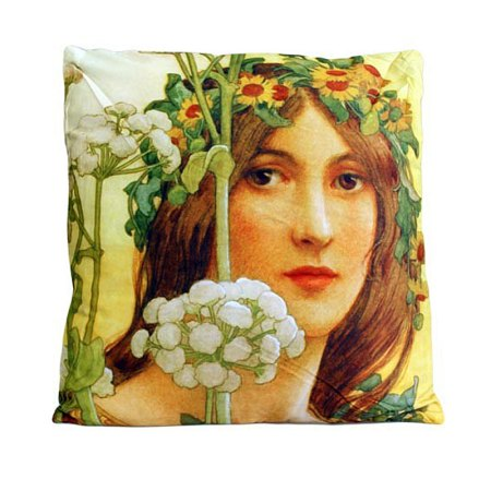 art cushion covers based on painting Our Lady of the Cow Parsley by Élisabeth Sonrel