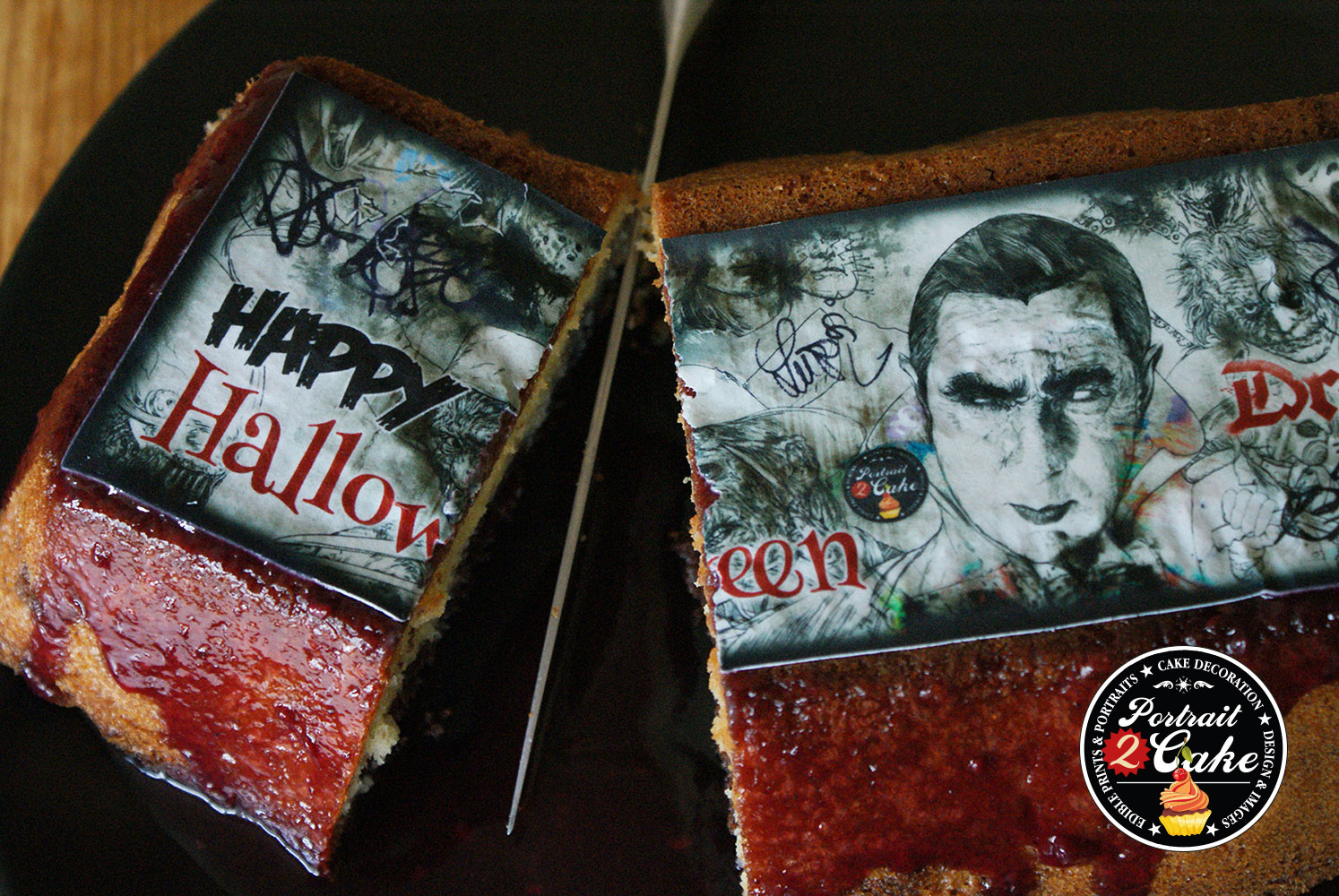 Halloween cake toppers Dracula rectangle on cake detail