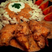 hungarian chicken paprikash on the plate image detail
