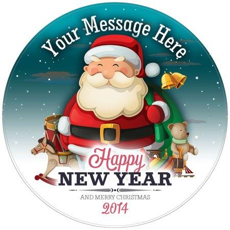 Happy Santa Personalised Christmas Cake Topper image