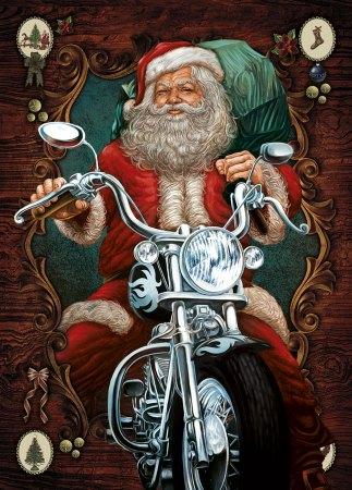 Santa Claus greeting cards - Biker Santa Image