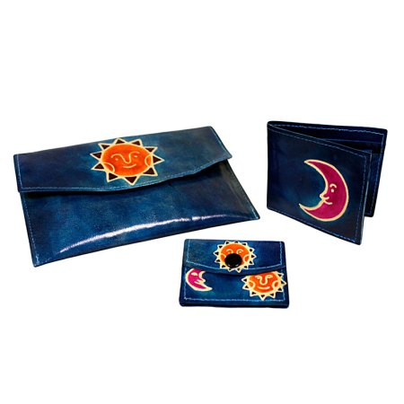 purse and wallet set sun and moon teal