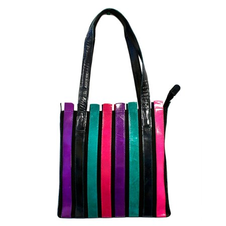 striped leather bag mosaic colours