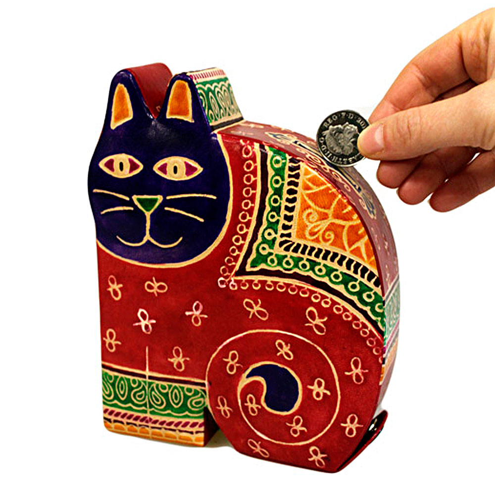 handmade large leather cat money box red with coin