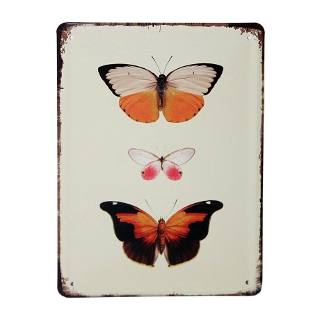 Vintage Metal Signs For Kitchen Orange Butterflies Wall Art