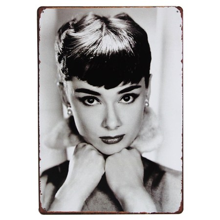 audrey hepburn metal sign