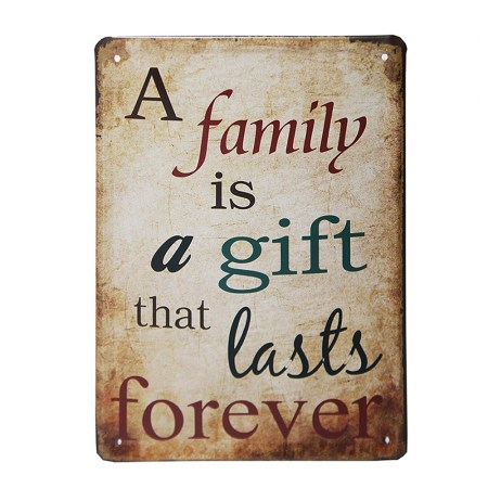vintage metal signs reads family is a gift