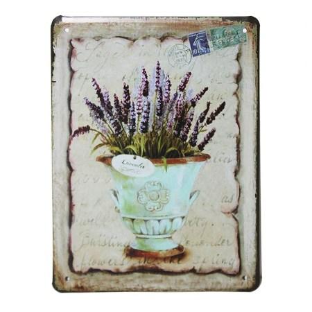 Vintage Metal Signs For Kitchen - Lavender Pot Wall Art