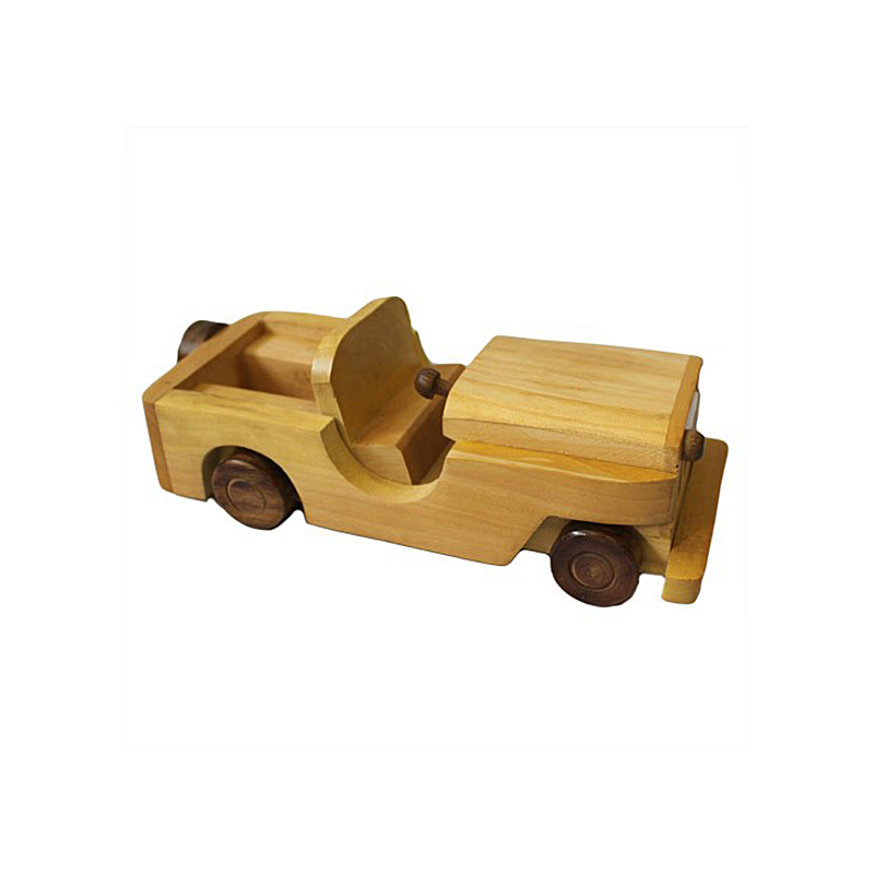 Indian haldu wood retro ornament toy army jeep