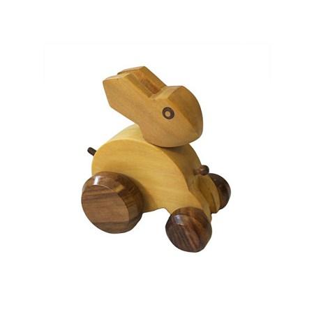 Indian haldu wood retro ornament toy bunny rabbit