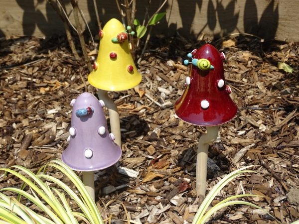 Ceramic Toadstools Tinkling Mushrooms Garden Ornaments