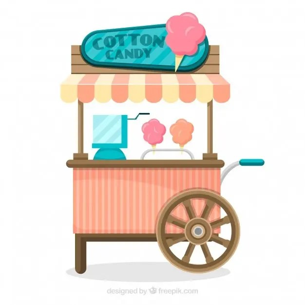 candy cart wooden cotton