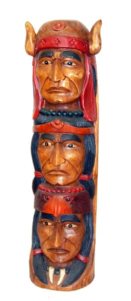 Wooden Indian Totem 40 In
